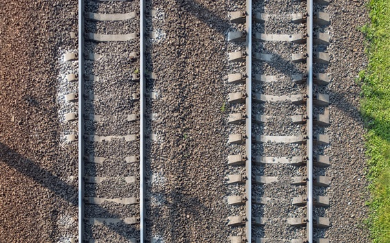 Wallpaper Railroad, stones, top view