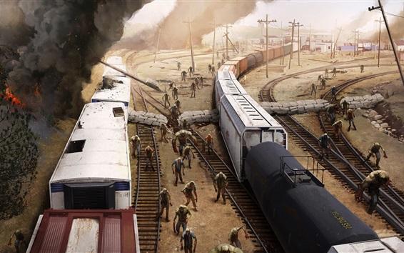 Fondos de pantalla Ferrocarril, tren, zombies, imagen de arte
