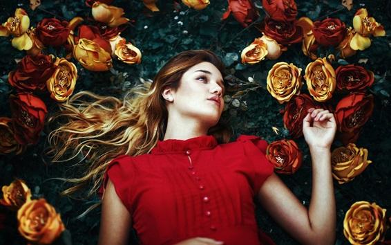 Wallpaper Red dress girl, roses
