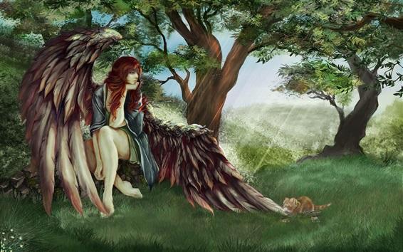 壁紙 赤毛の天使の女の子、羽、木、猫、アートの絵