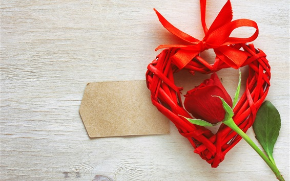 Wallpaper Red rose, love heart