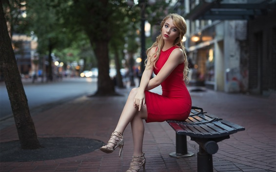 Wallpaper Red skirt blonde girl, sit on bench, city, street