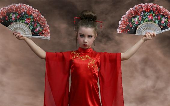 Wallpaper Red skirt girl, fans, Japanese style