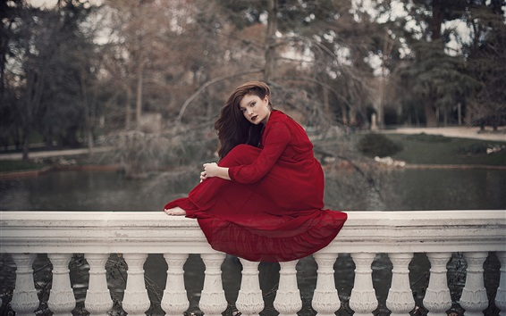 Wallpaper Red skirt girl sit on the fence