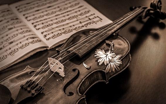 Papéis de Parede Estilo retro, violino, partitura