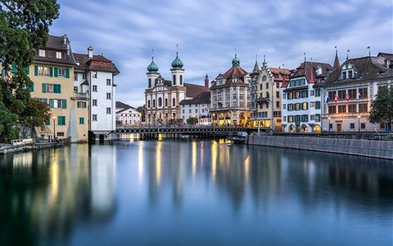 Wallpaper Reuss River, Lucerne, Switzerland, city, buildings