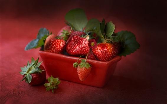 Papéis de Parede Morango maduro, fruta suculenta