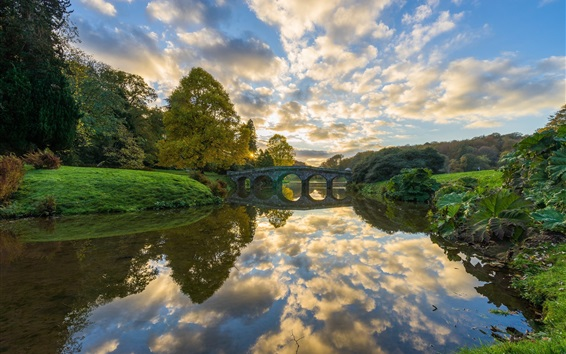 Wallpaper River, bridge, trees, clouds, sunrise