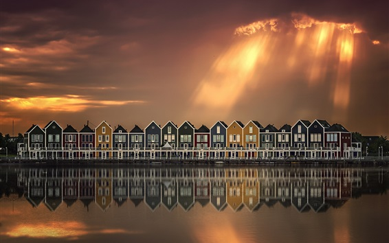 Wallpaper River, houses, water reflection, clouds, sun rays