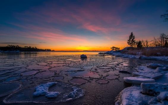 Wallpaper River, snow, ice, sunset, winter