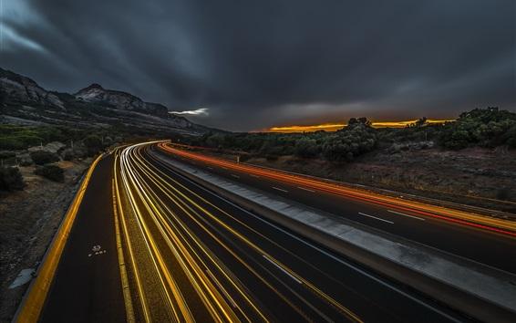 Fondos de pantalla Camino, noche, líneas de luz, velocidad