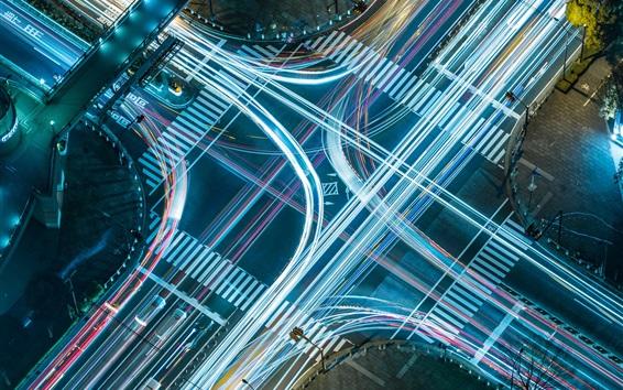 Fond d'écran Route, rue, ville, mouvement, lumières, nuit