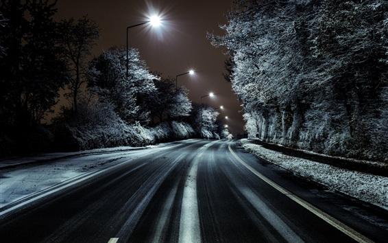 Wallpaper Road, trees, snow, winter, night, lights