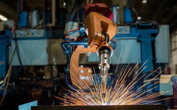 Wallpaper Robotic welding, sparks
