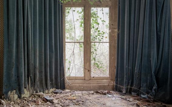 Wallpaper Room, window, curtain, ruins
