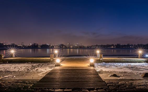 Обои Роттердам, Nederland, река, город, огни, ночь