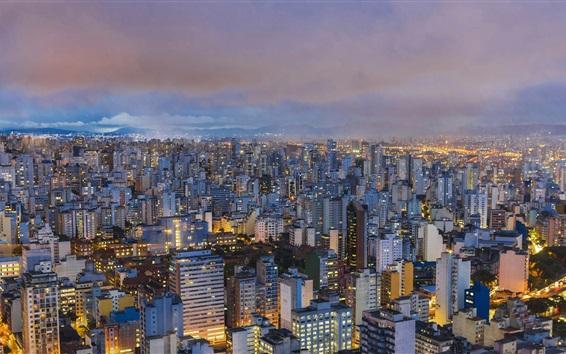 Fondos de pantalla Sao Paulo, Brasil, ciudad, vista superior, luces, noche