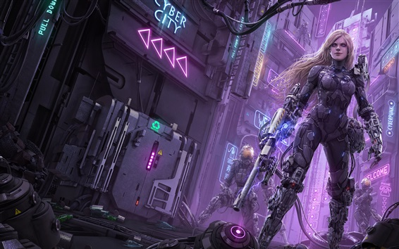 Wallpaper Sci-fiction, robot, weapons, city, art picture