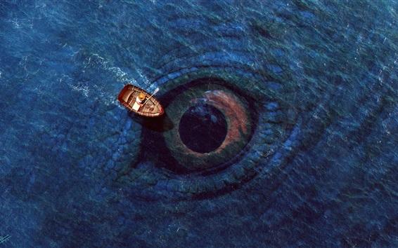 Wallpaper Sea, big eye, boat, digital art design