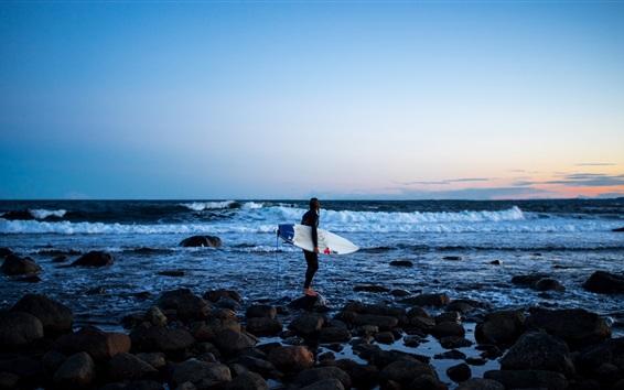 Wallpaper Sea, coast, girl, surfer, surfboard, extreme sport, rocks