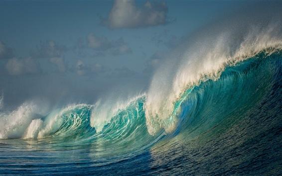 Wallpaper Sea, waves, water splash, beautiful