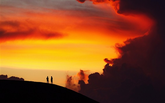 Wallpaper Silhouettes, sunset, hill, person