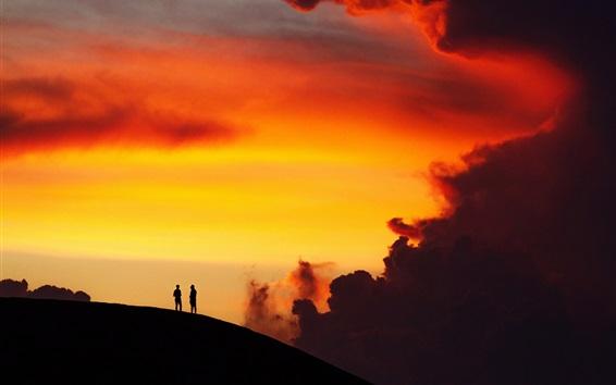 壁紙 シルエット、日没、丘、人