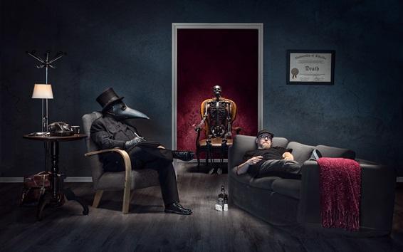 Papéis de Parede Esqueleto, máscara, pessoas, sala, criativa