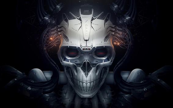 Обои Череп, робот, креативный дизайн