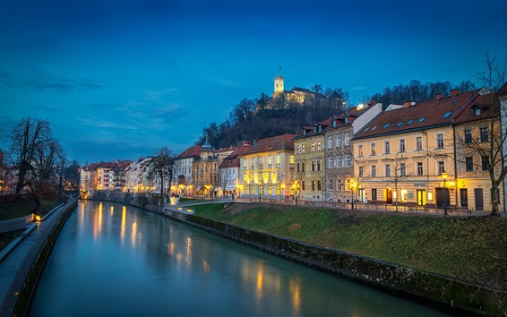 Wallpaper Slovenia, Ljubljana, river, evening, lights