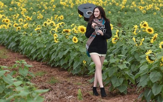 Wallpaper Smile Asian girl, guitar, sunflowers