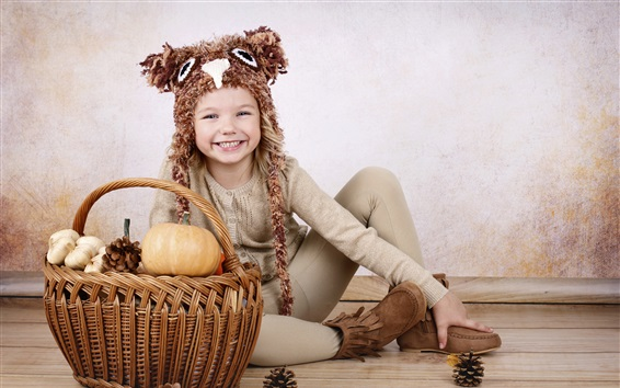 Fond d'écran Smile enfant, citrouille, panier