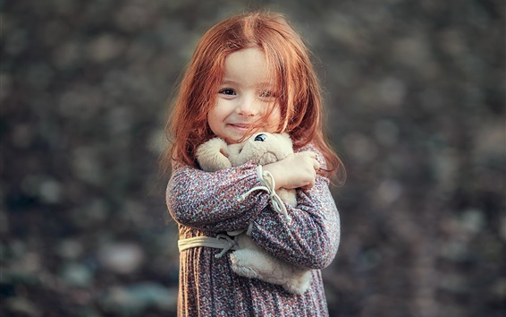 Wallpaper Smile little girl, red hair, toy