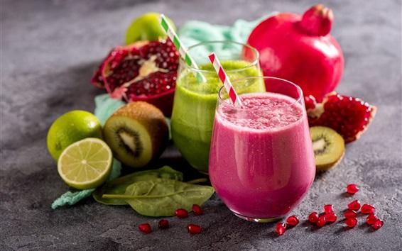 Wallpaper Smoothies, fruit drinks, lime, kiwi, pomegranate