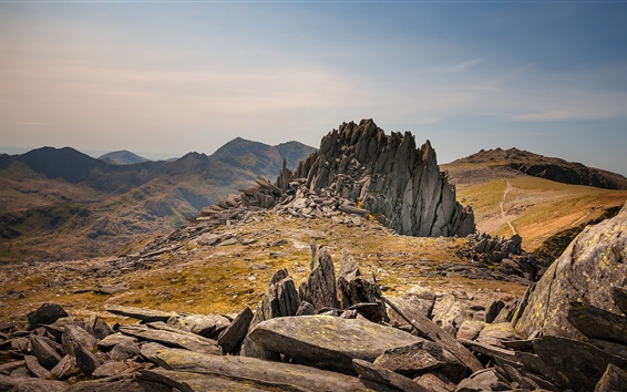 Wallpaper Snowdonia, Wales, stones