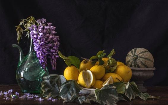 Wallpaper Some lemons, melon, wisteria, vase