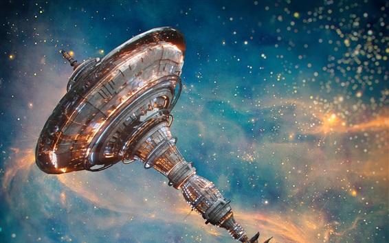 壁紙 宇宙ステーション、星、宇宙