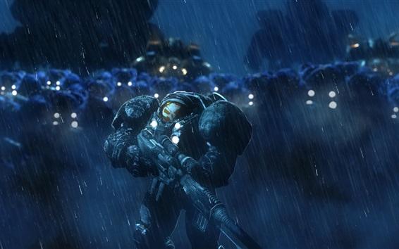 Обои StarCraft, терраны, солдаты, дождь