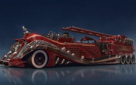 Wallpaper Steampunk car concept, red fire truck