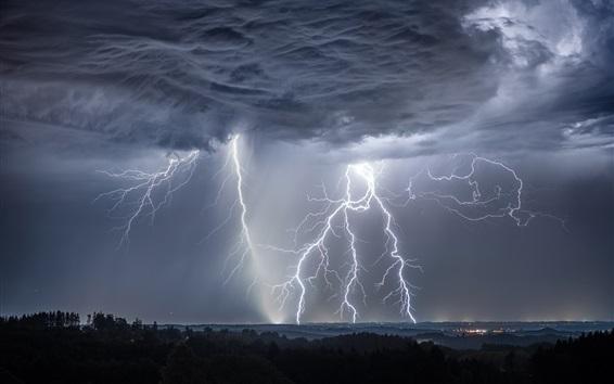 배경 화면 폭풍, 번개, 구름, 독일