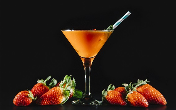 Wallpaper Strawberry drinks, black background
