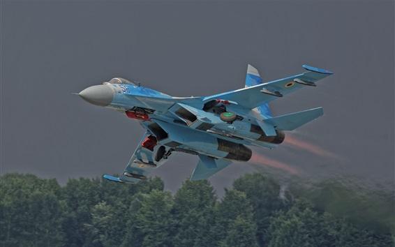 Обои Боевые самолеты Су-27 Фланкер, взлет