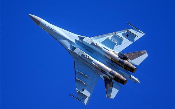 Papéis de Parede Vôo de caça polivalente Su-35, céu azul