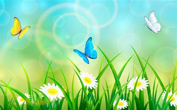 Wallpaper Summer, grass, flowers, butterfly, art picture
