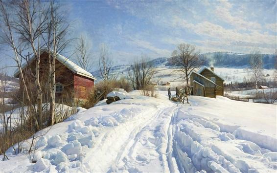 Fond d'écran Hiver ensoleillé, neige, arbres, maisons