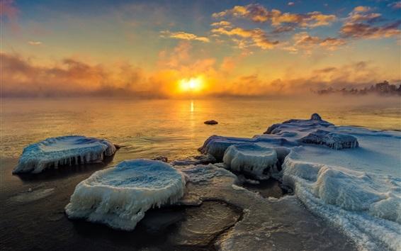 壁紙 夕日、氷、湖、朝、霧、冬