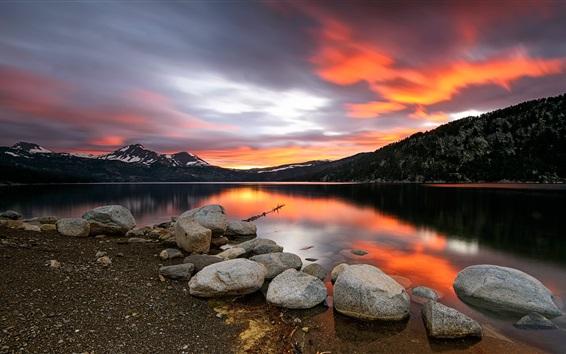 Wallpaper Sunset, lake, stones, mountains