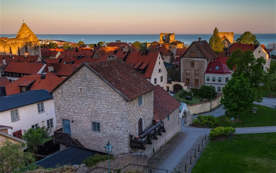 Wallpaper Sweden, Visby, houses, sea