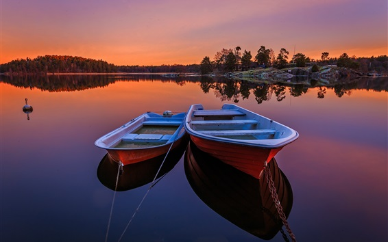 Wallpaper Sweden, two boats, lake, trees, sunset