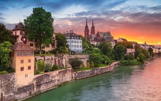 Wallpaper Switzerland, Basel, river, promenade, city, houses, sunset